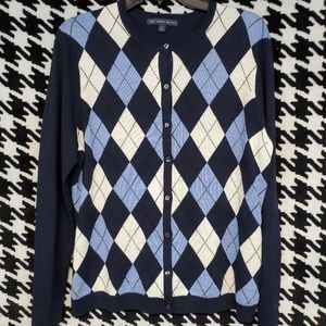 NWOT  Brooks Brothers argyle merino wool cardigan